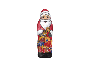Fairtrade Chocolate Santa covered in santa themed foiled